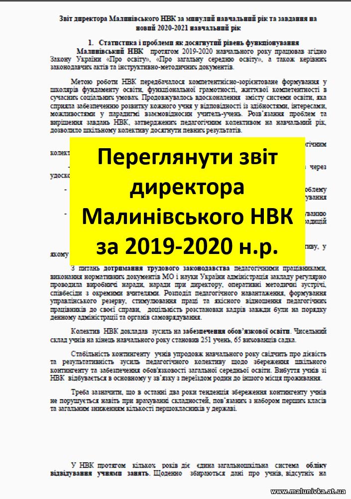 Звіт директора Малинівського НВК за 2019-2020 н.р.